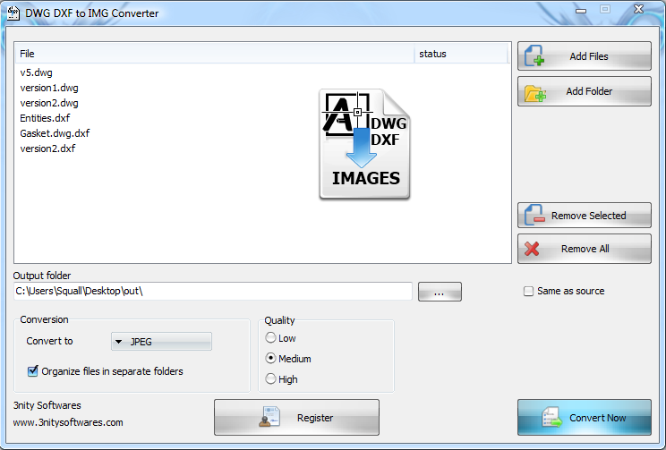 Batch convert DWG and DXF to JPG, TIFF, BMP,